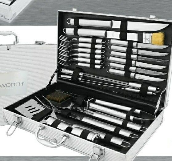 24 Piece Bbq Set With Skewers/ Tongs/ Cleaning Brush & Knives
