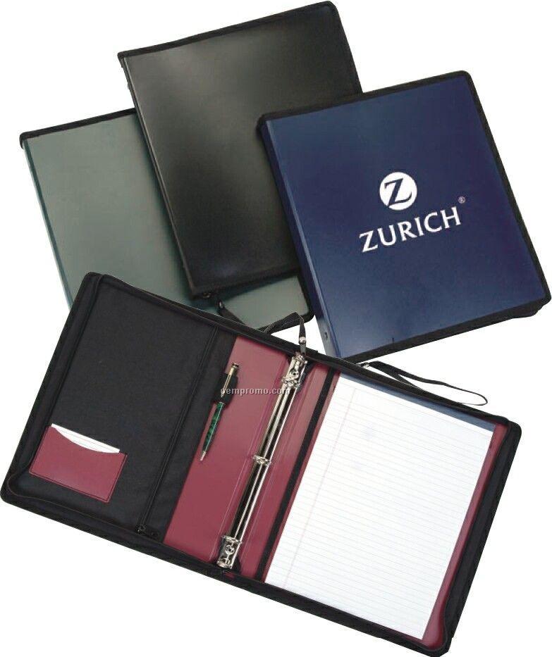 3 Ring Binder With Fabric Zipper Pocket & Pen Holder