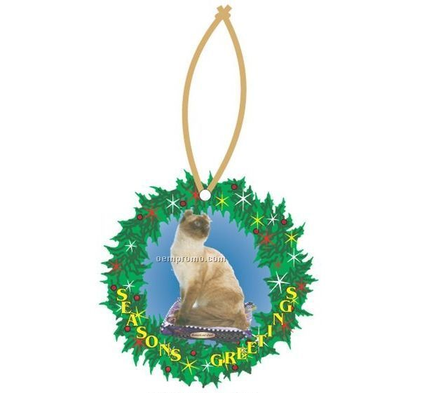 American Curl Cat Executive Wreath Ornament W/ Mirrored Back (12 Sq. Inch)