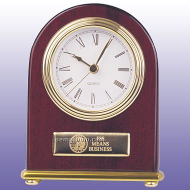 Rosewood Clock With G/P Accent - Arch Style