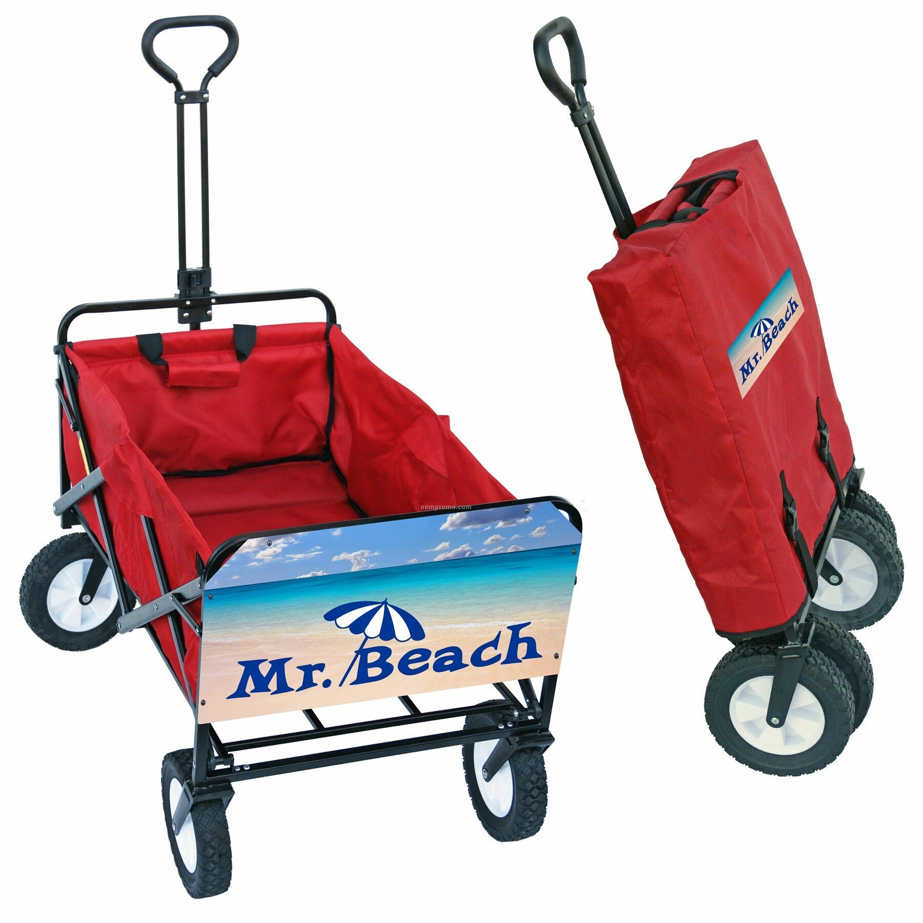 Collapsible Folding Utility Wagon W/ Large Rear Imprint Panel