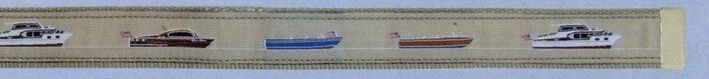 Embroidered Pattern Belt With Adjustable Leather Tip (Antique Boats)