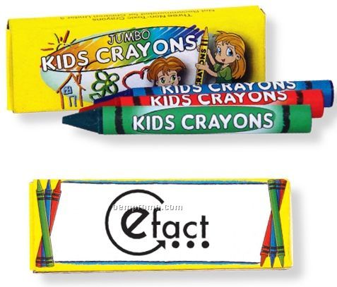 3 Pack Jumbo Crayons (Imprinted)