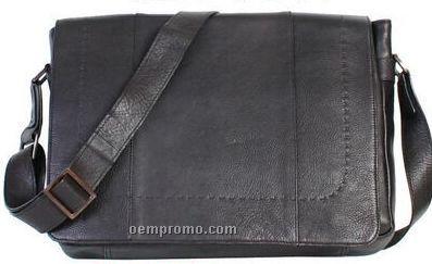 Black Pebbled Calf Leather Workbag / Computer Bag