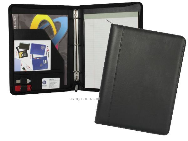 """Deluxe Padfolio With 1"""" - 3 Ring Binder And Zipper Closure"""