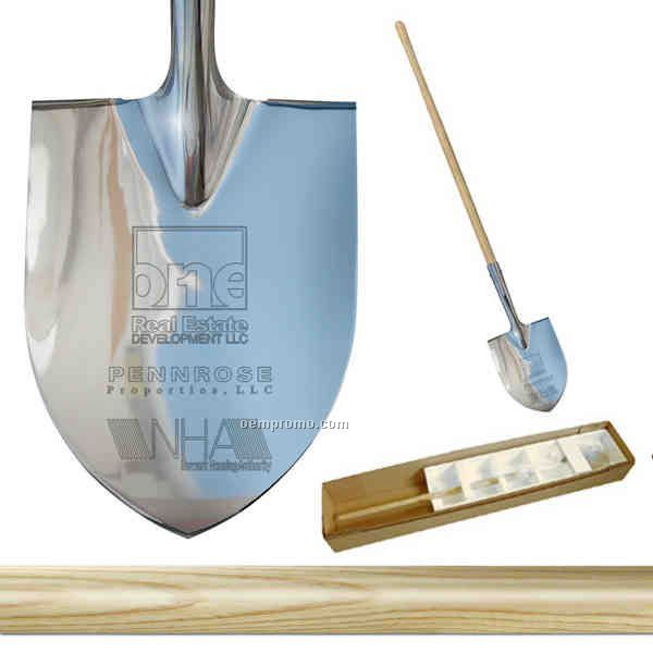 Show Chrome Plated Long Handle Groundbreaking Ceremonial Shovel