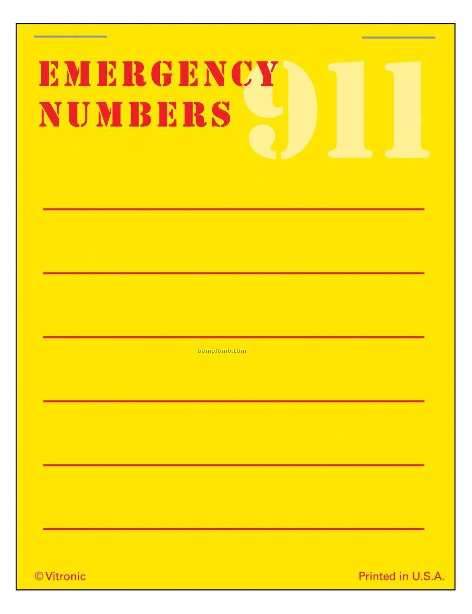 Super Size Emergency # List Press-n-stick Calendar Pad (Thru 8/01/11)