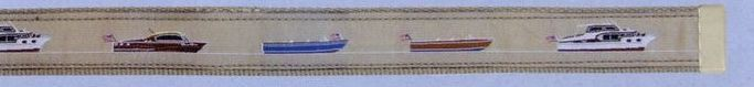 Embroidered Pattern Belt With Leather Tip (Antique Boats)