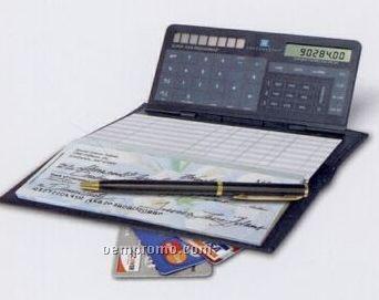 Checkbook calculator with leather bi-fold cover check.