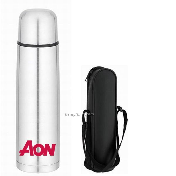33 Oz. Stainless Steel Thermal Bottle With Push Button, Pour Spout