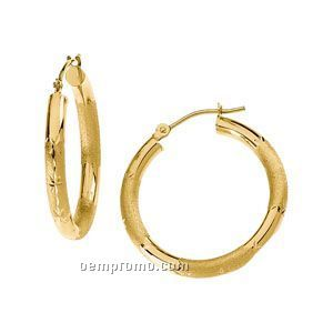 Ladies' 14ky 20-1/4mm Brushed Florentine Hoop Earring