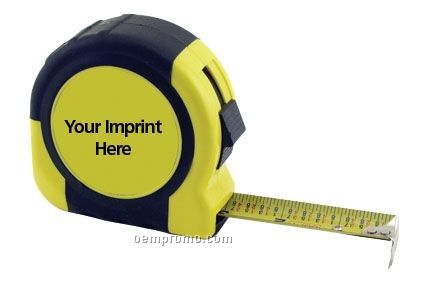 Retractable Rubberized Power Tape Measure W/ Laminated Label (33`x1