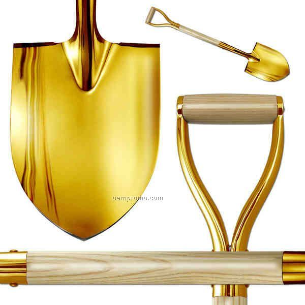 Show Gold Plated D-handle Groundbreaking Ceremonial Shovel