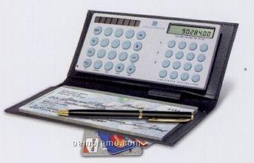 Checkmaster Calculator W/ Easy Grip Keys & Leather Checkbook Cover