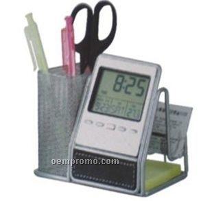 Desk Organizer With Multi-function Digital Clock
