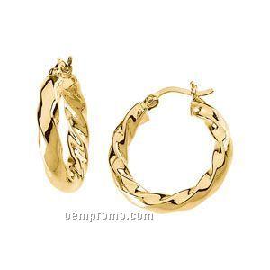 Ladies' 14ky 21mm Twisted Tube Hoop Earring