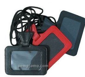 Navy Buttercalf Leather Id Holder On A String