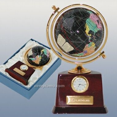"4"" Dia Globe W/ Clock & Name Plate (Screened)"