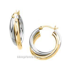Ladies' 14ktt 19-1/2x19 Rolling Hoop Earring