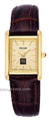 Women's Rectangle Dial Pulsar Watch W/ Brown Crocodile Grain Leather Strap