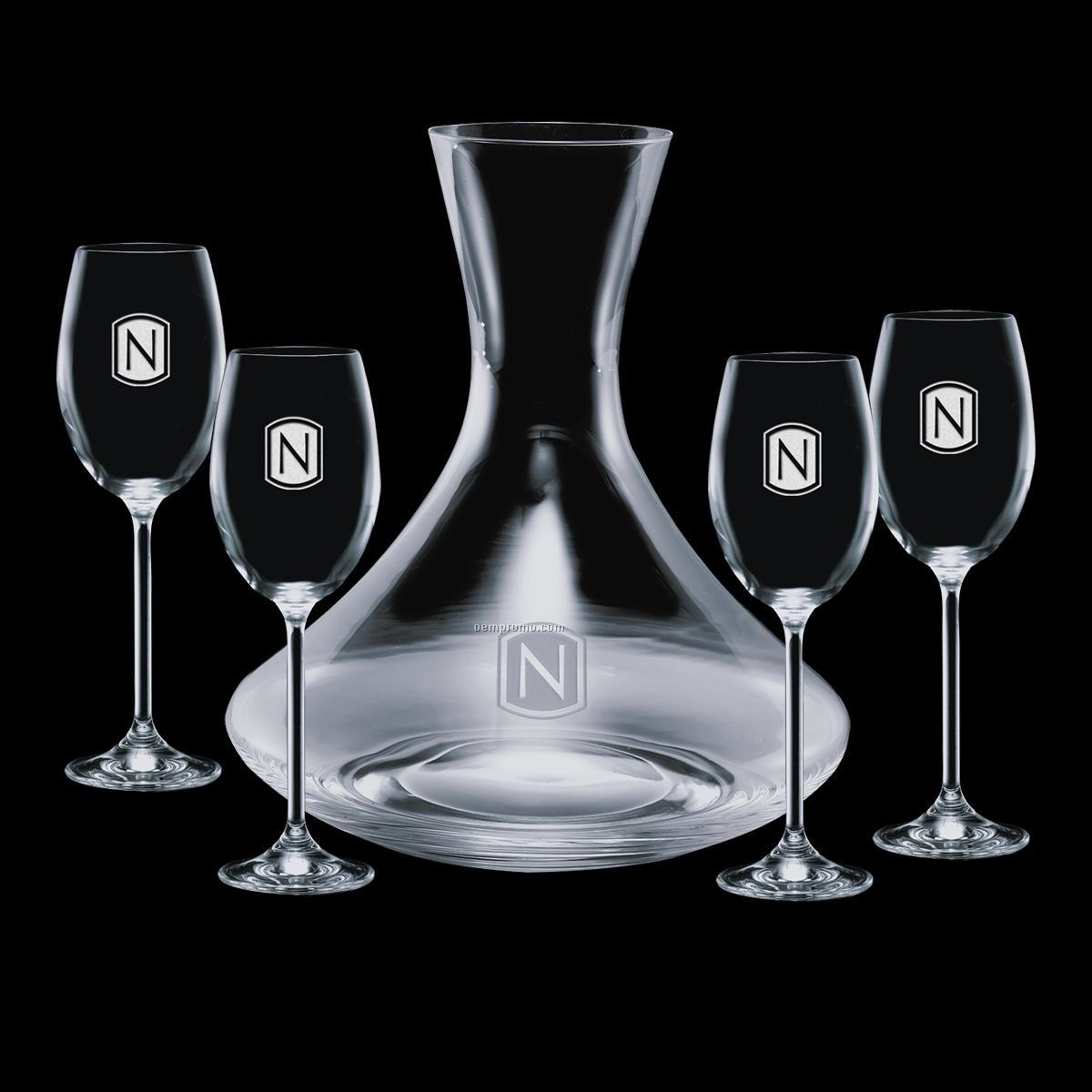 32 Oz. Crystal Senderwood Carafe With 4 Wine Glasses