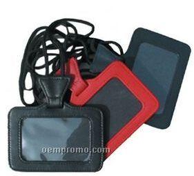 Black Plonge Leather Id Holder On A String