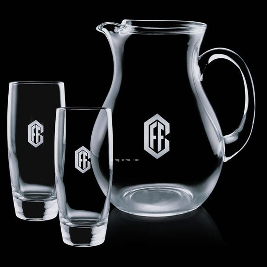 Crystal Belfast Pitcher With 2 Hiball Glasses