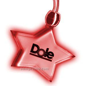 Steady Light Up Star Necklace W/ Red LED