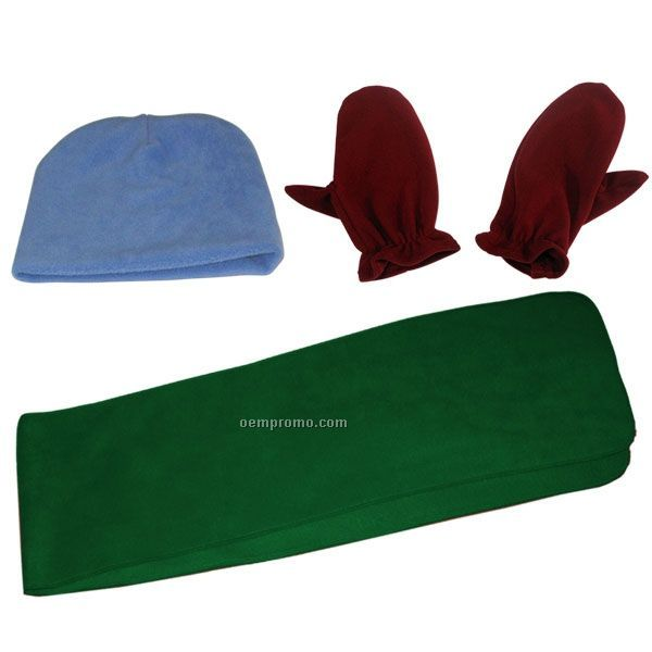 Youth Wicking Fleece Scarf And Double Layered Beanie