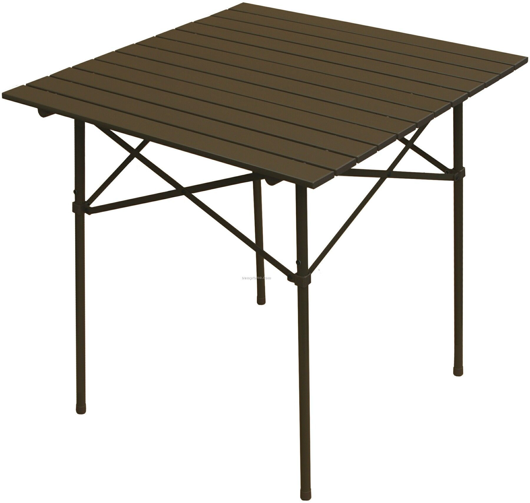Collapsible Folding Brown Aluminum Table With Black Carry Bag