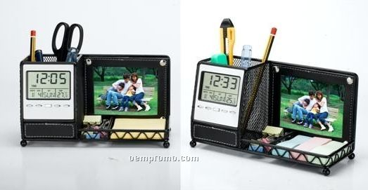 Desk Organizer With Multi-function Clock & Photo Frame