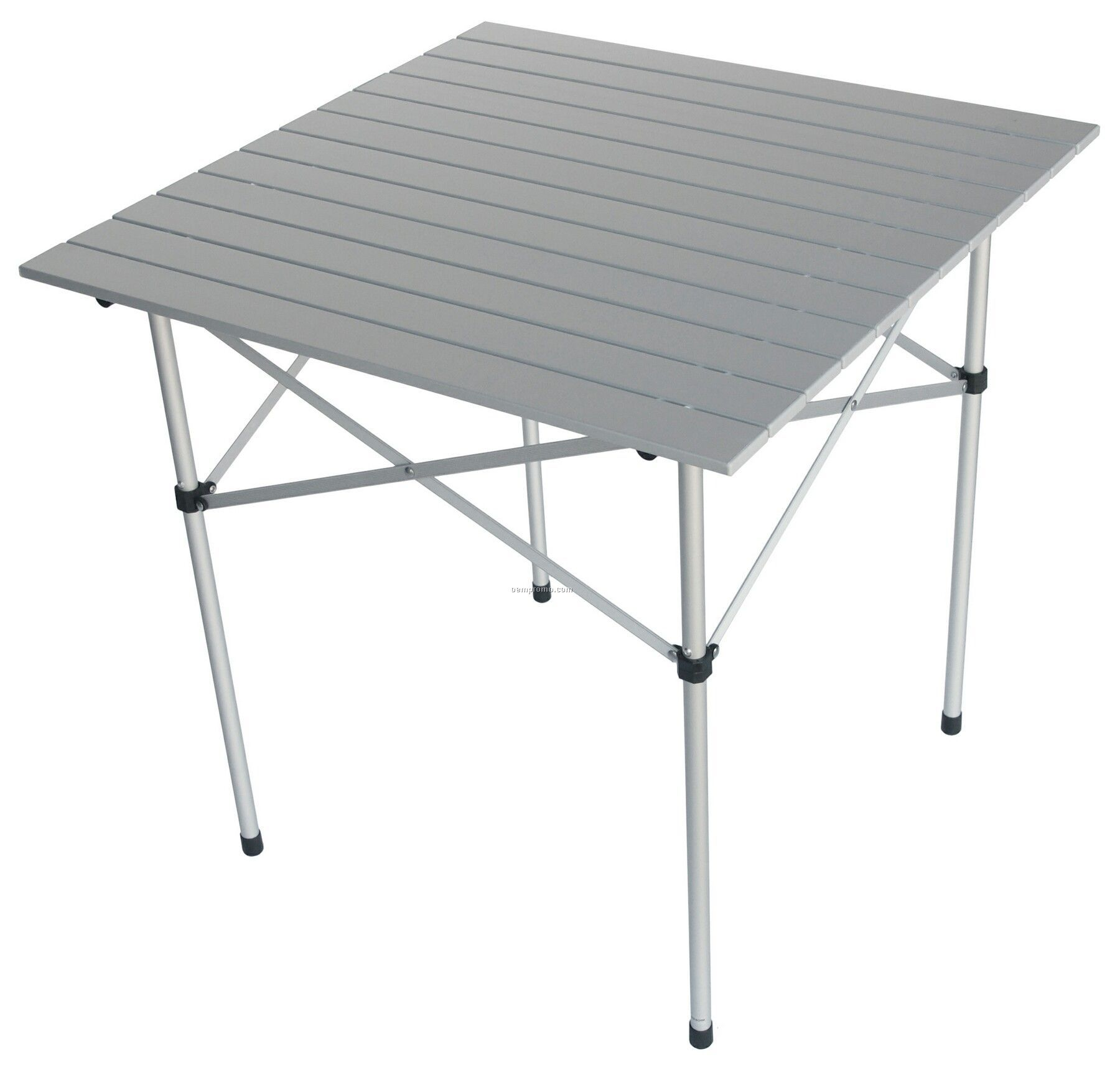 Folding Silver-gray Finish Aluminum Table And Black Carry Bag