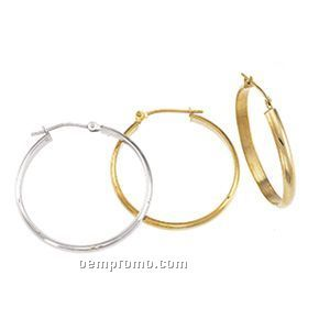 Ladies' 14ky 22-3/4mm Half Round Tube Hoop Earring