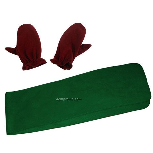 Youth Wicking Fleece Scarf And Mitts Combo W/ Elastic Wrist Band