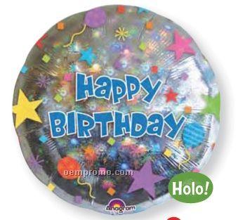 "32"" Happy Birthday Confetti Holographic Balloon"