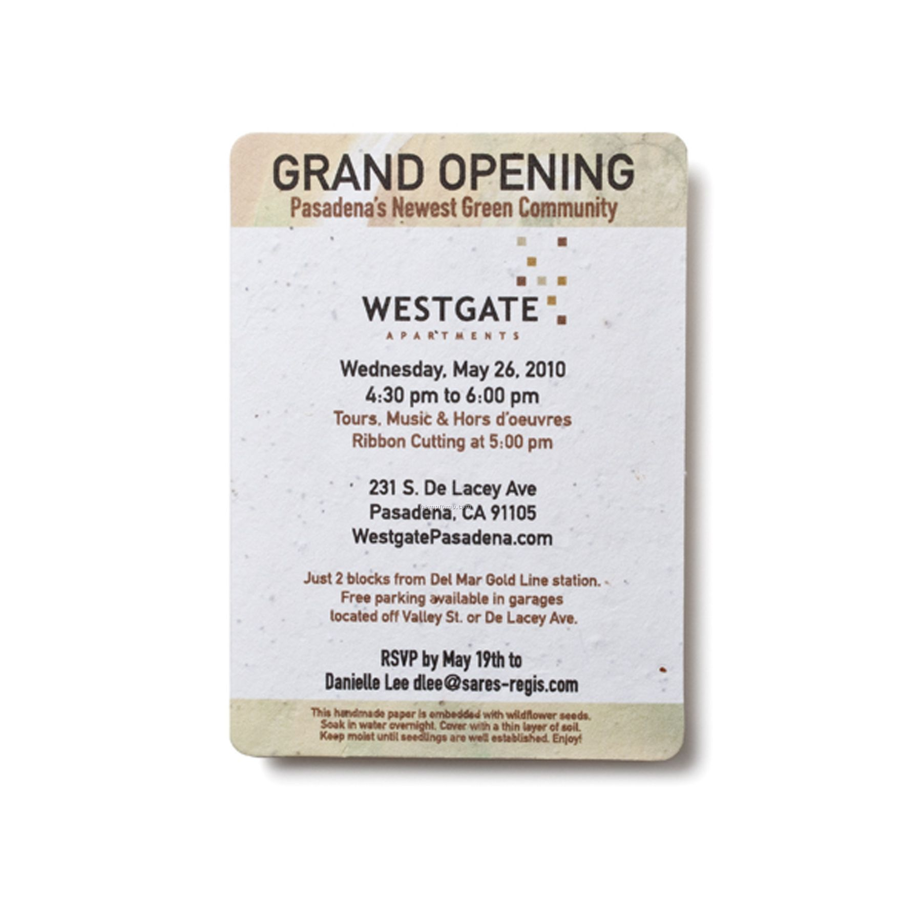 Fully Seeded Invitation With Grand Opening Design China Wholesale