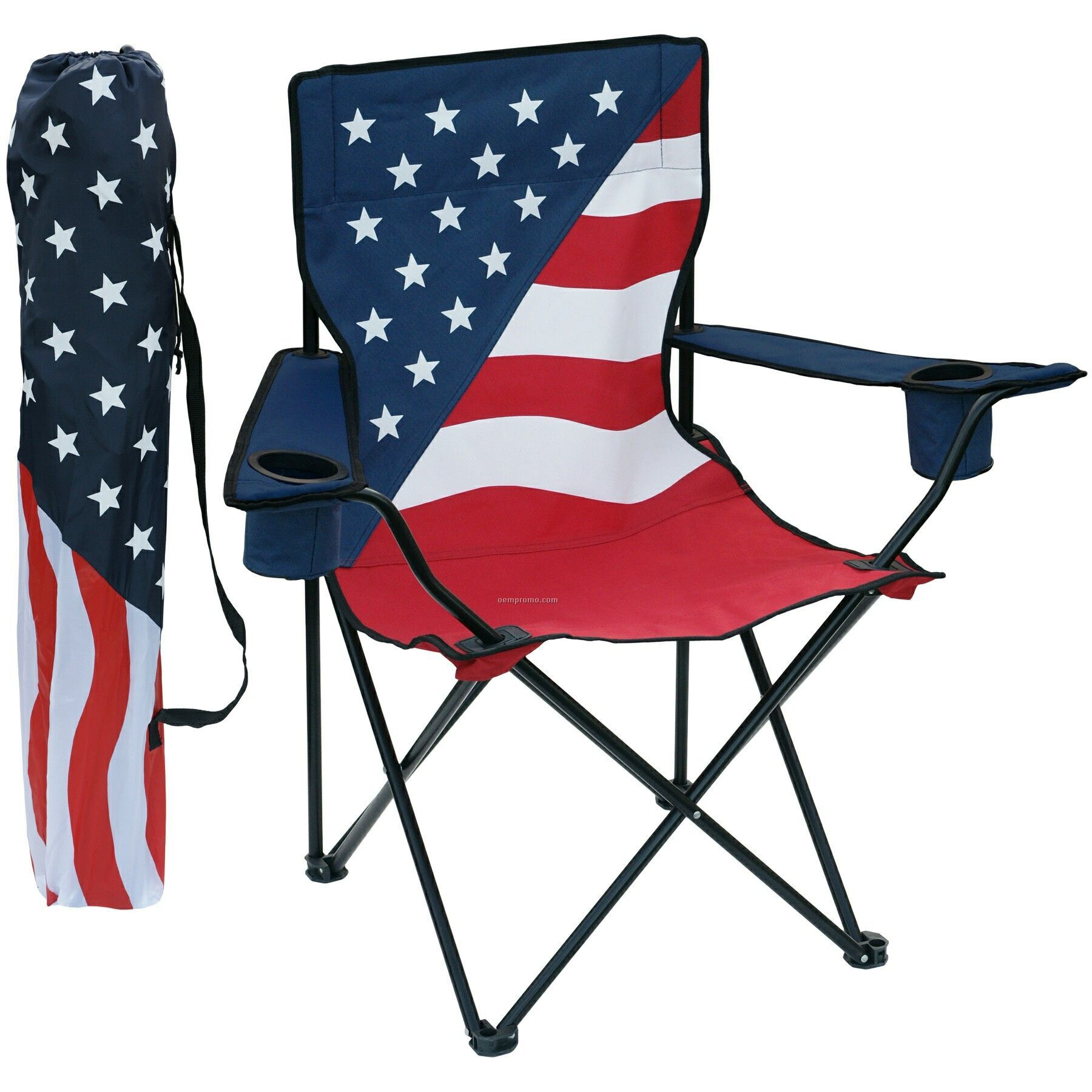 Patriotic Folding Chair W/Arm Rests, 2 Cup Holders And Matching Carry Bag.