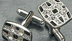 Rhodium Plated Cufflinks W/ Black Enamel & Crystal