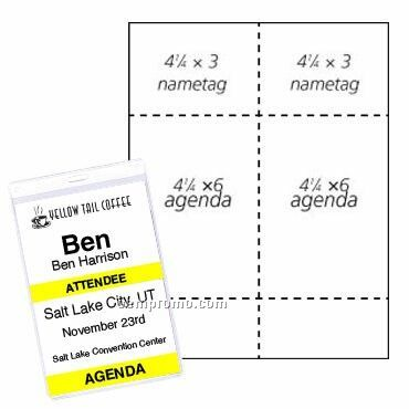 "Classic Name Tag Agenda Paper Insert - 2 Color (4 1/4""X6"") (4""X3"")"