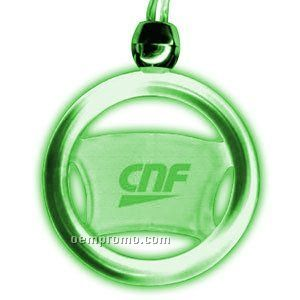 Steering Wheel Steady Light Up Pendant Necklace W/ Green LED