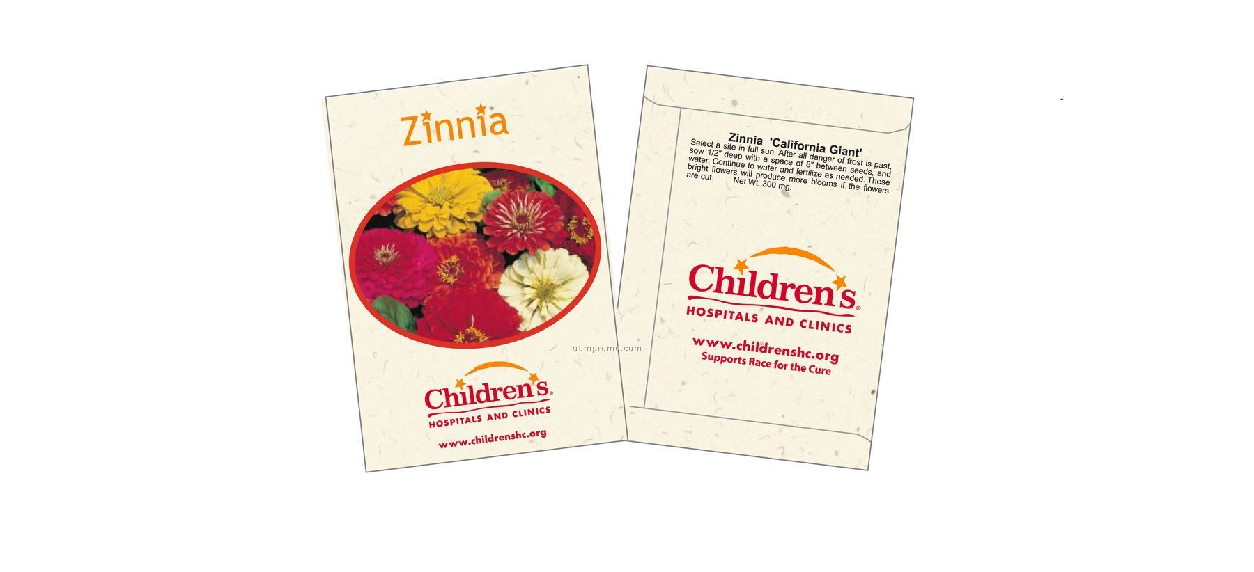 Zinnia - California Giant - Flower Seed Packet (2 Color)