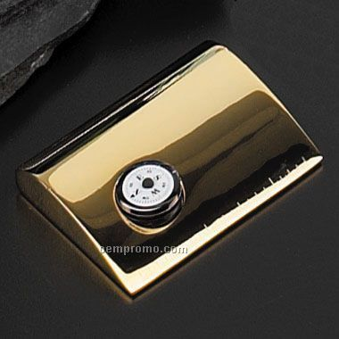 Gold Plated Card Holder W/ Clock (Screened)