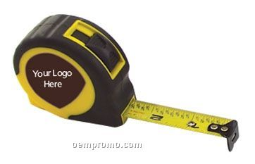 "Retractable Rubberized Power Tape Measure- Laminated Label (12'x5/8"" Blade)"