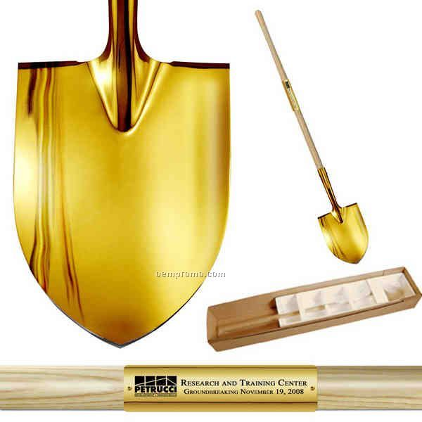 Show Gold Plated Long Handle Groundbreaking Ceremonial Shovel