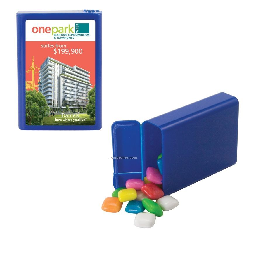 Blue Refillable Plastic Mint/ Candy Dispenser With Gum
