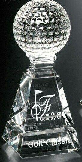 """Sports Gallery Crystal Golf Pyramid Award (6"""")"""