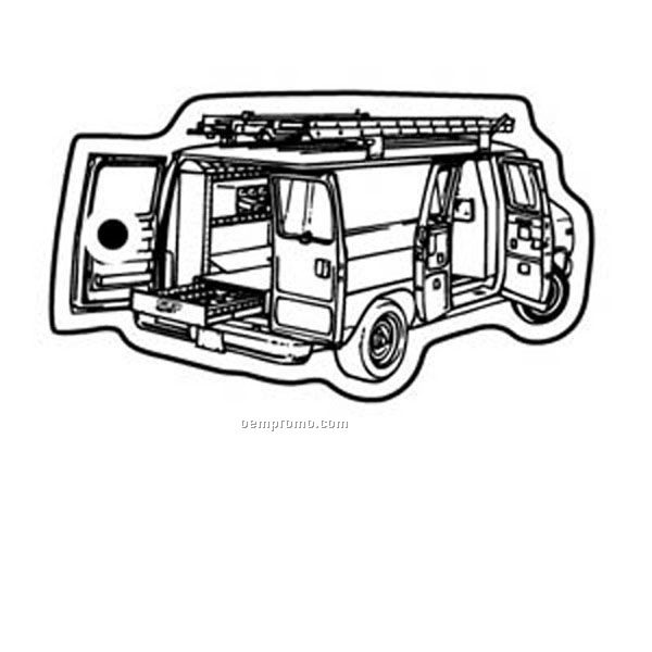 Stock Shape Collection Van W/ Ladders Key Tag