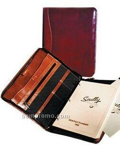 Walnut Italian Leather Zip Planner Binder