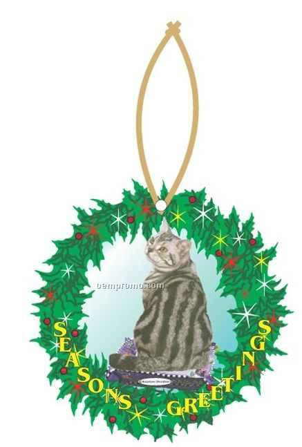 American Shorthair Cat Wreath Ornament W/ Mirrored Back (2 Square Inch)