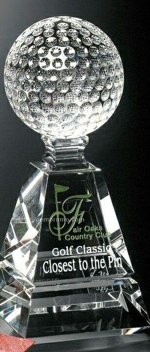 """Sports Gallery Crystal Golf Pyramid Award (8"""")"""